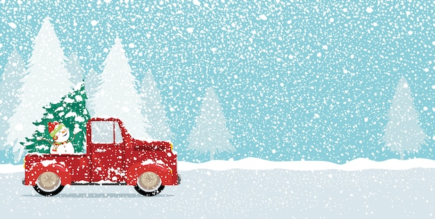 Conception de cartes de noël d'arbre de noël et bonhomme de neige mignon