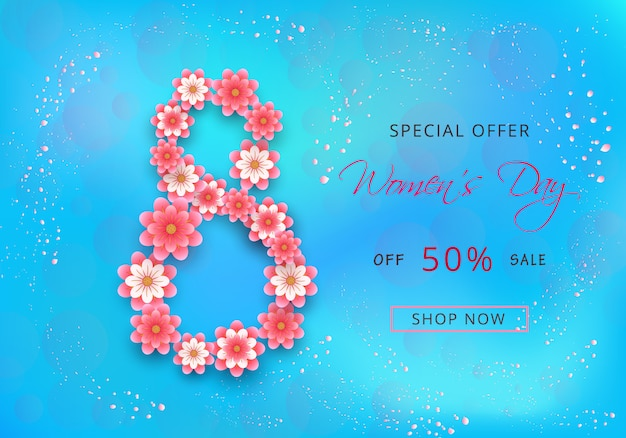 Conception de cartes d'offre happy womens day sale avec des fleurs roses en papier découpé