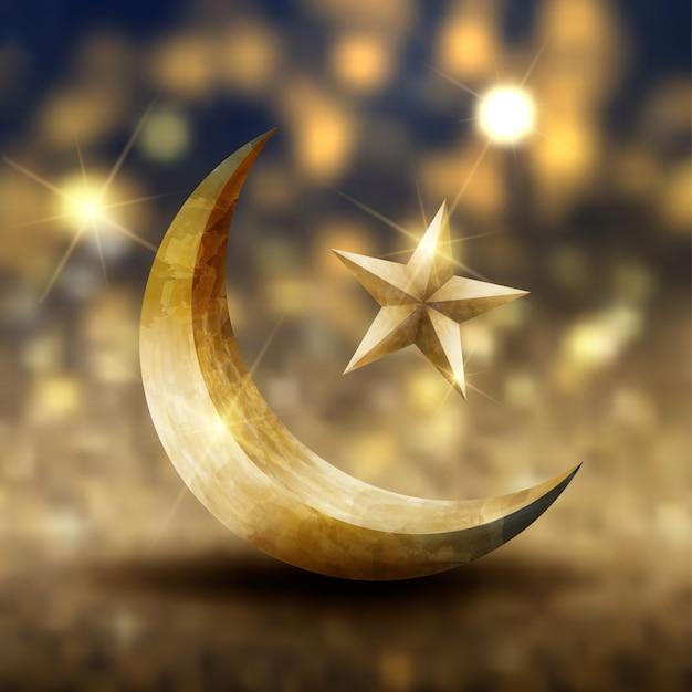 Conception de cartes de ramadan kareem de voeux islamique avec croissant