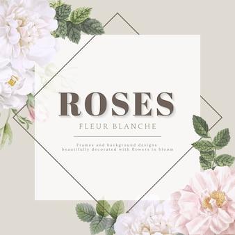Conception de cartes roses fleur blanche