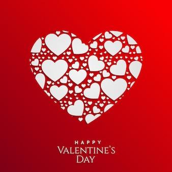 Conception de cartes de saint valentin avec un cœur composé de coeurs
