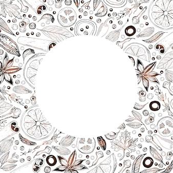 Conception de cartes vectorielles avec des ingrédients comestibles dessinés à la main, disposés en cercle.