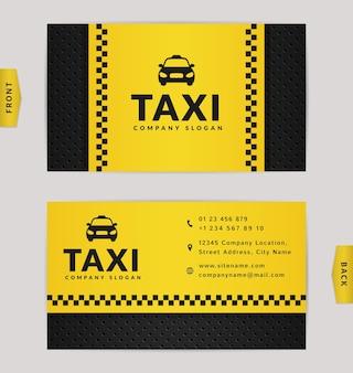 Conception de cartes de visite dans les couleurs noir et jaune. modèle élégant pour la compagnie de taxi.