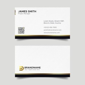 Conception de cartes de visite de luxe noir et blanc d'entreprise