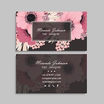 Conception de cartes de visite rose pâle