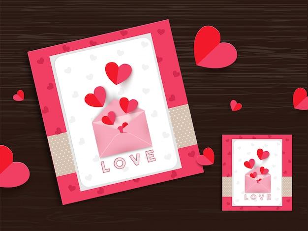 Conception de cartes de voeux d'amour, petits coeurs surgissent d'enve