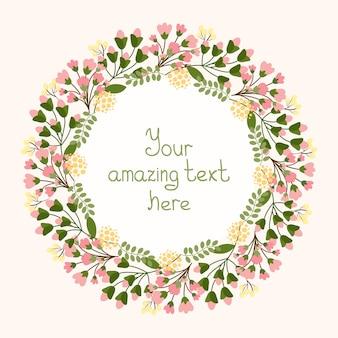 Conception de cartes de voeux avec une couronne florale circulaire de fleurs roses fraîches délicates et de fleurs entourant un cartouche central avec fond pour une illustration vectorielle de mariage ou d'anniversaire d'invitation