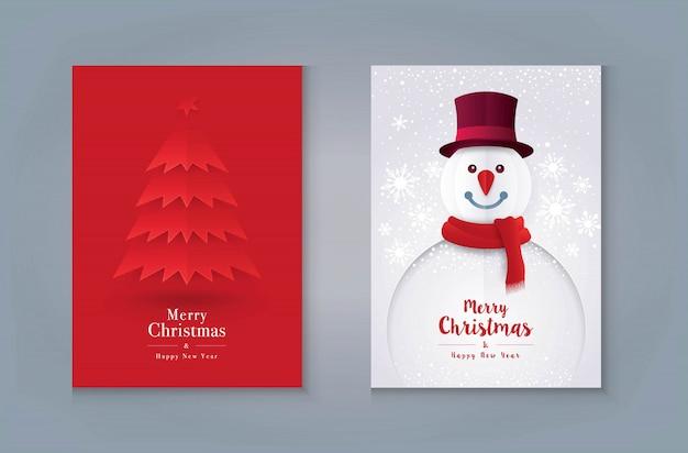 Conception de cartes de voeux joyeux noël. sapin de noël et bonhomme de neige avec flocon de neige