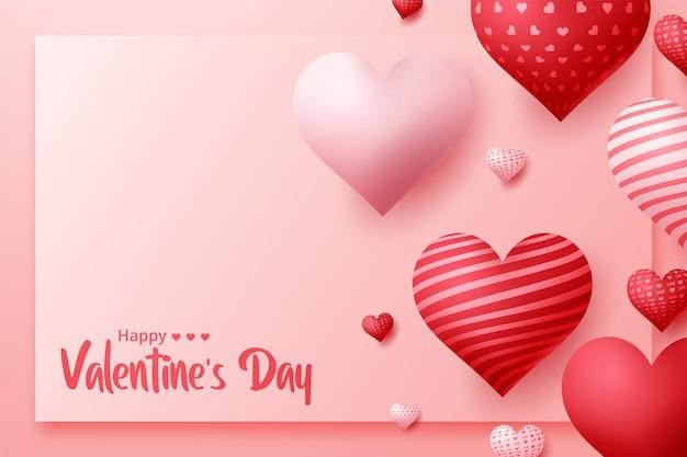 Conception De Cartes De Voeux Joyeux Saint Valentin Vector Vecteur Premium