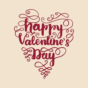 Conception de cartes de voeux avec lettrage happy valentine's day. illustration vectorielle
