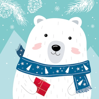 Conception de cartes de voeux de noël et du nouvel an de l'ours polaire avec foulard tenant une boîte cadeau rouge