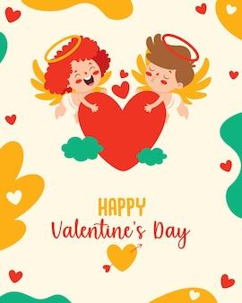 Conception de cartes de voeux saint valentin avec personnage de dessin animé