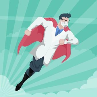 Conception en carton du docteur super-héros