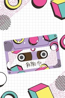 Conception de cassette de mélange rétro, bande vintage de musique et thème audio illustration vectorielle