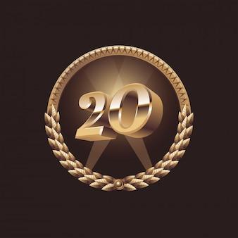 Conception de célébration d'anniversaire de 20 ans. logo du sceau d'or, illustration