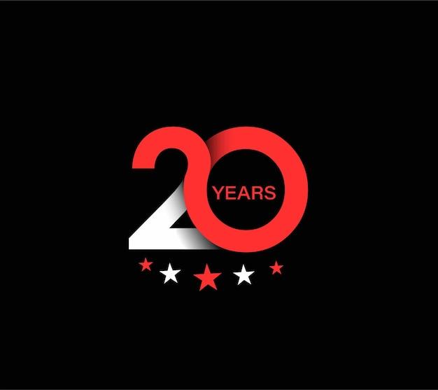 Conception de célébration d'anniversaire de 20 ans.