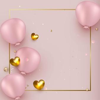 Conception de célébration avec des ballons sur un rose