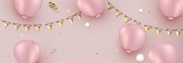 Conception de célébration de ballons roses