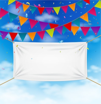 Conception de la célébration avec des drapeaux de banderoles colorées