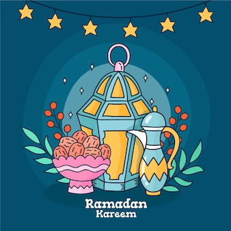Conception de célébration du ramadan dessinés à la main