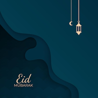 Conception de la célébration eid mubarak avec lanterne de formes découpées en papier et illustration de la demi-lune