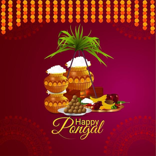 Conception de célébration de festival de joyeux pongal sud indien