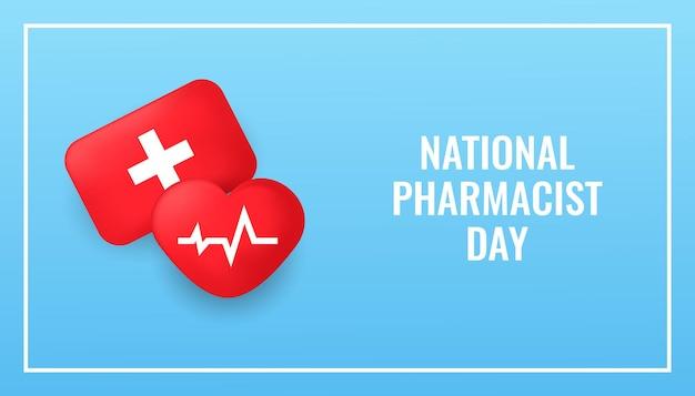 Conception De Célébration De Jour De Pharmacien Avec Le Coeur 3d Réaliste Et Le Kit De Médecine Vecteur Premium