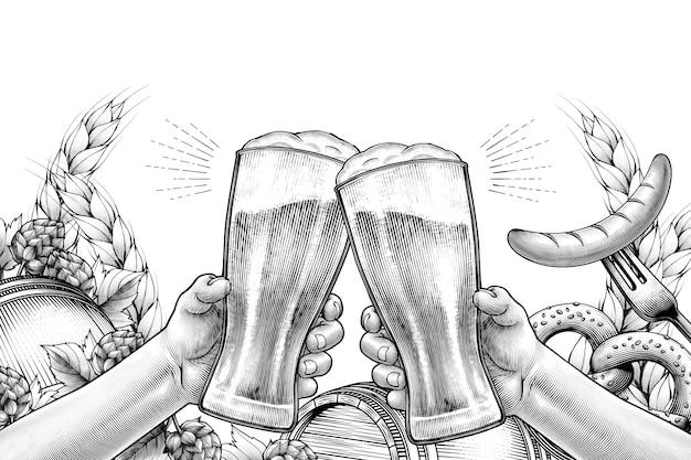 Conception de célébration de l'oktoberfest dans un style gravé, mains tenant des verres à bière et acclamations sur fond blanc rempli d'ingrédients