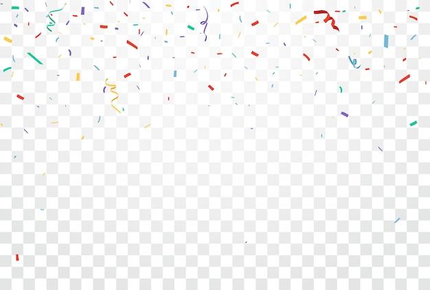 Conception de célébrations de confettis colorés isolé sur fond transparent