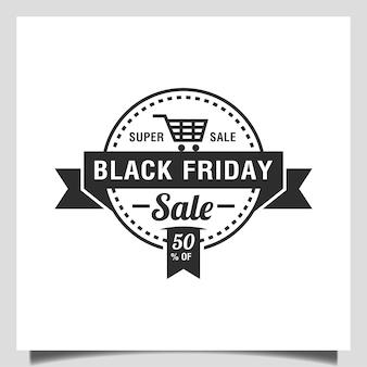 Conception de cercle d'emblème vectoriel pour méga vente, remise, shopping, modèle de logo d'insigne de vente vendredi noir