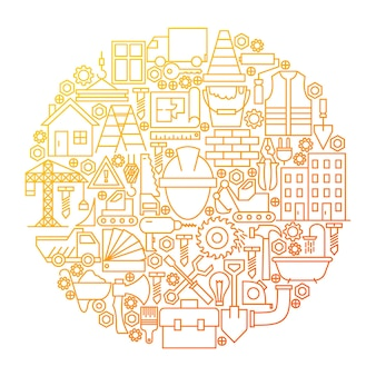 Conception de cercle d'icône de ligne de construction. illustration vectorielle d'objets d'équipement de construction.