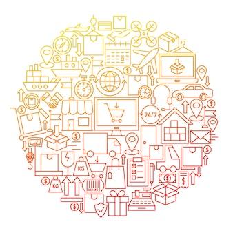 Conception de cercle d'icône de ligne de livraison. illustration vectorielle d'objets logistiques isolés sur blanc.