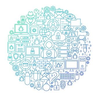 Conception de cercle de ligne de sécurité internet. illustration vectorielle d'objets hacker isolés sur blanc.