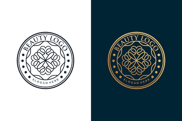 Conception de cercle vintage logo fleur de beauté
