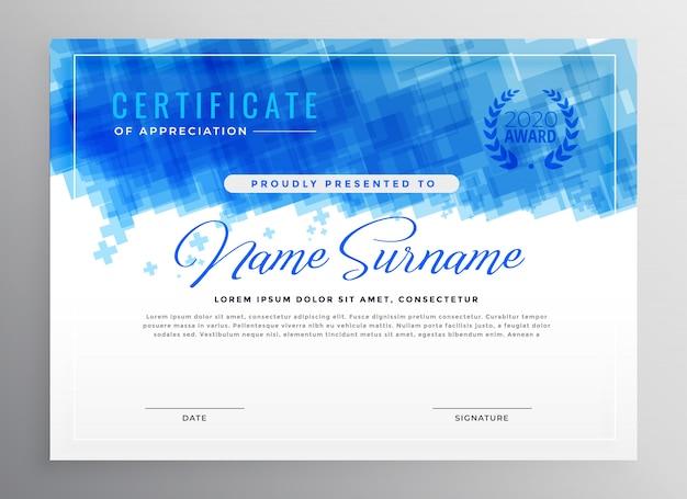 Conception de certificat abstrait bleu diplôme