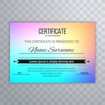 Conception de certificat abstrait fond de colroful