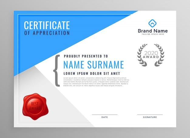 Conception de certificat d'appréciation bleu moderne