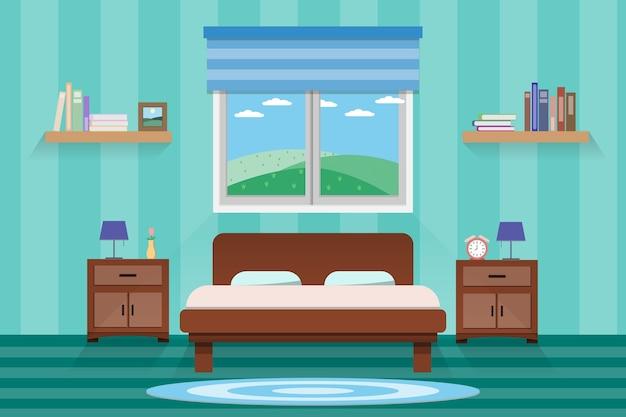 Conception de chambre à coucher intérieure avec lit et accessoire