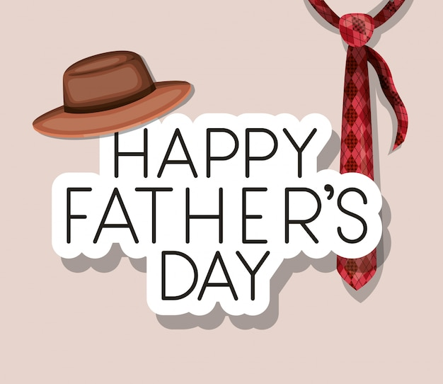 Conception de chapeau et cravate de fête des pères heureux