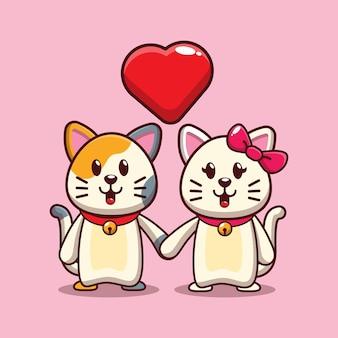 Conception de chats mignons tombant amoureux