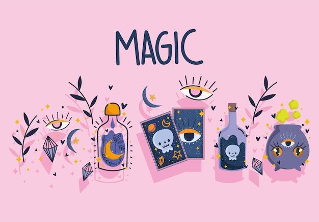 Conception de chaudron de bouteille de sortilège de potion de carte de tarot magique