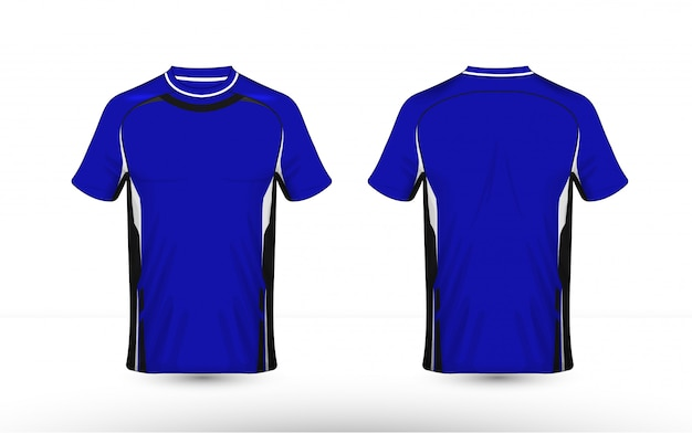 Conception de chemise de sport mise en page bleu noir et blanc