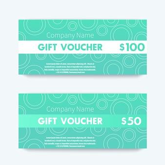 Conception de chèque-cadeau, modèle en aigue-marine, illustration vectorielle