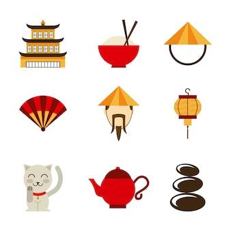 Conception de la chine sur l'illustration vectorielle fond blanc