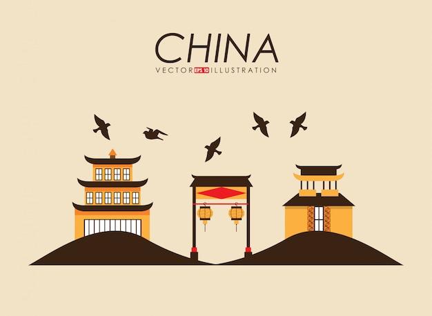Conception de la chine sur l'illustration vectorielle fond jaune