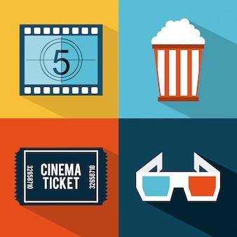 Conception de cinéma au cours de l'illustration vectorielle de couleurs fond