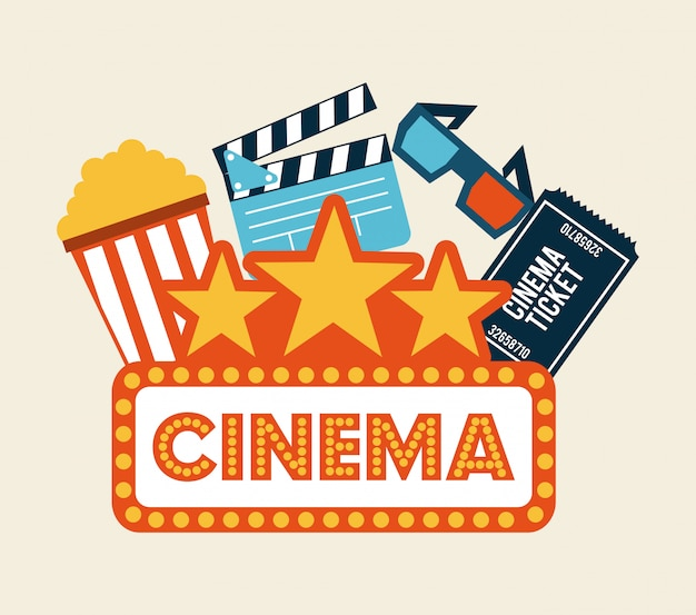 Conception de cinéma au cours de l'illustration vectorielle fond blanc
