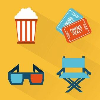 Conception de cinéma au cours de l'illustration vectorielle fond orange