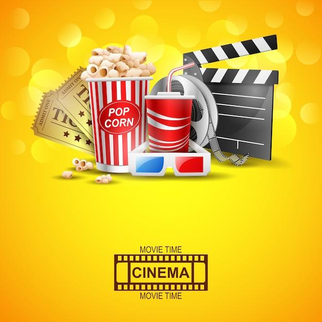 Conception de cinéma au-dessus du fond jaune