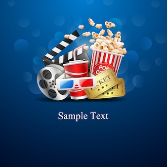 Conception de cinéma sur fond bleu